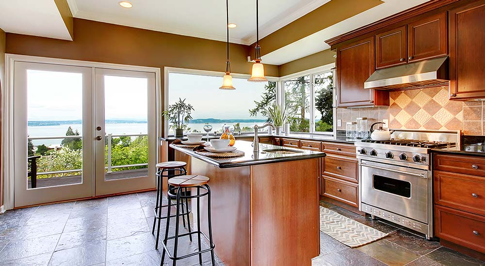 kitchen overlooking the water